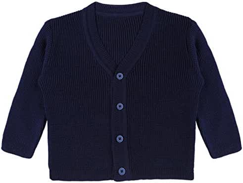 Lilax Baby Boys Basic Long Sleeve V-Neck Classic Knit Cardigan Sweater