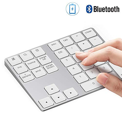 Keypad Laptop (Bluetooth Number Pad, Lekvey Aluminum Rechargeable Wireless Numeric Keypad Slim 34-Keys External Numpad Keyboard Data Entry for Laptop, MacBook, MacBook Air/Pro, iMac, Windows, Surface Pro - Silver)