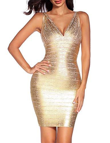 Women's V Neck Bandage Dress Strap Foil Dresses Club (XL, Golden)