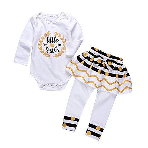 Little Big Sister Suit Set,Romper T-shirt Polka dot Skirt Dress Outfits Set For Baby Girl (0-6 Month(70cm), long sleeve little siste)