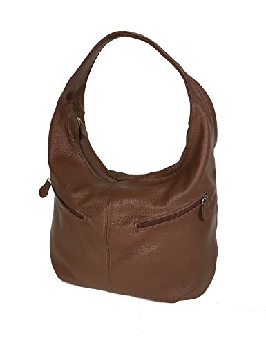 8f78aedad999 fgalaze tan brown leather hobo bag with outside pockets fashion ...