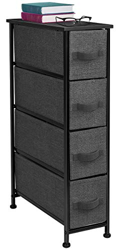 Sorbus Narrow Dresser Tower with 4 Drawers - Vertical Storage for Bedroom, Bathroom, Laundry, Closets, and More, Steel Frame, Wood Top, Easy Pull Fabric Bins (Black/Charcoal) (Rolling Dresser Laundry Basket)