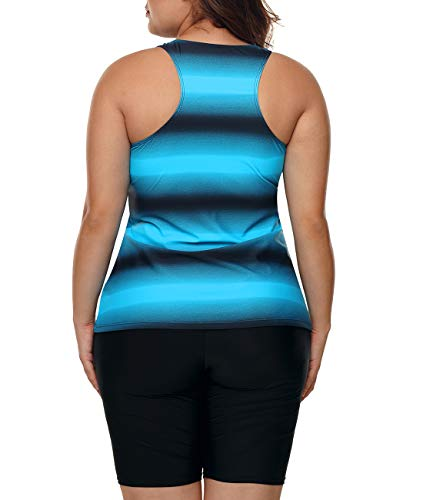 Lalagen Womens Plus Size Racerback Tankini Set Two Piece Swimsuit Boyshort Blue XXXL by Lalagen (Image #3)