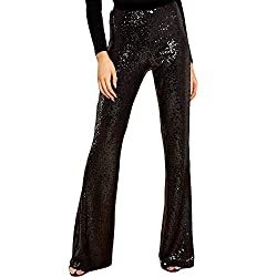 Women's Sequins High Waist Bell Bottom Pants