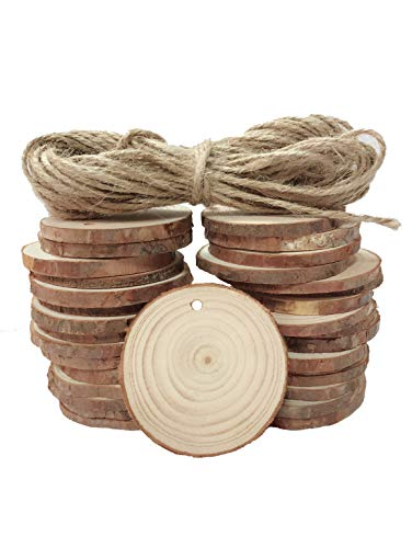 Luling Arts Unfinished Natural Wood Slices for Centerpieces - 30 Pcs 2
