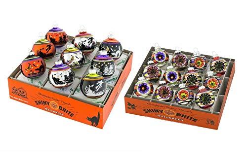 Christopher Radko Shiny Brite 2 Box Set Halloween Glass Ornaments Spiders Black Cat Witch ()