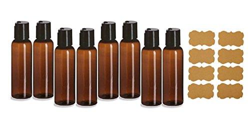 (SanDaveVA Brand 2oz Plastic Bottles AMBER PET Qty 8 w/ Smooth Black Disc Top Cap and Kraft Labels 60ml BPA Free)