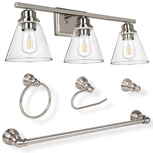 3-Light Vanity Light Fixture, 5-Piece All-in-One Bathroom Set (Led Edison Bulbs as Bonus), Brushed Nickel Wall Sconce…