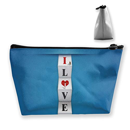 Price comparison product image Makeup Bag Cosmetic Love Blue Paper Portable Cosmetic Bag Mobile Trapezoidal Storage Bag Travel Bags with Zipper