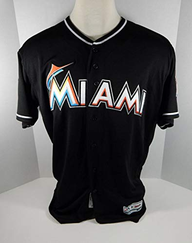 2018 Miami Marlins Blank Authentic Game Issued Black Jersey 25th Patch Size: 52 - Game Used MLB Jerseys