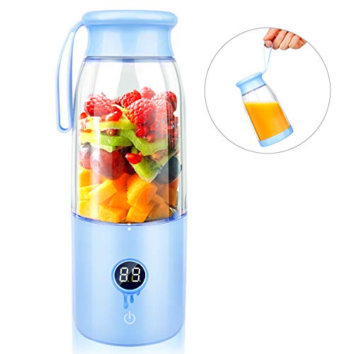 Portable Blender - Nicewell USB Rechargeable Smoothie Blender, 14oz Detachable Juicer Cup for Travel Office School Home, Personal Fruits Juicer and Mixer with LCD Display, Touch Switch Design