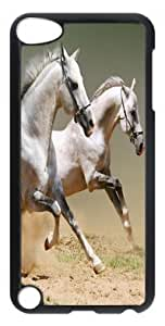 DIY Fashion Case for iPod Touch 5 Generation Black PC Case Back Cover for iPod Touch 5th with Two White Horses