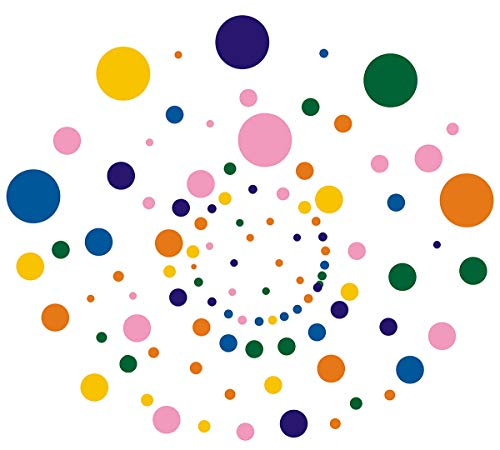 Easma Polka Dots Wall Decals(192pcs) Vinyl Wall Decal Dots Removable Primary Colors Vinyl Circle Wall Stickers Easy Peel and (Vinyl Polka Dots)