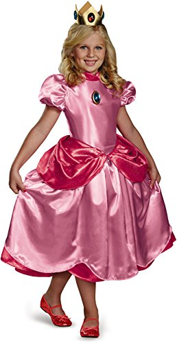 [Disguise Nintendo Super Mario Brothers Princess Peach Deluxe Girls Costume, Small/4-6x] (Halloween Princess Costumes For Kids)