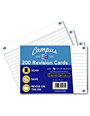 Oxford Campus Revisiekaarten, gelijnd, A6, Wit, 200 Kaarten