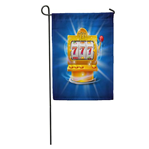 Semtomn Garden Flag Orange Casino Golden Slot Machine Wins The Jackpot Blue Lucky Home Yard House Decor Barnner Outdoor Stand 12x18 Inches Flag