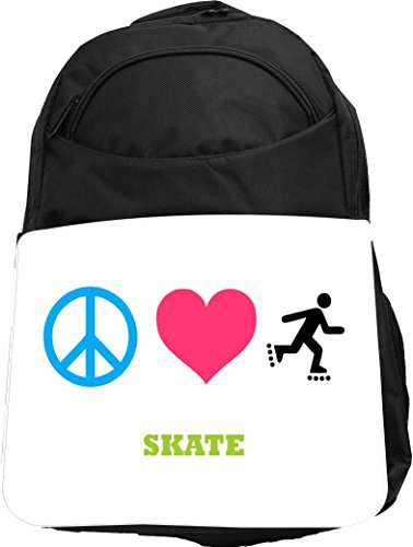 Rikki Knight UKBK Peace Love Skate Tech BackPack - Padded for Laptops & Tablets Ideal for School or College Bag BackPack