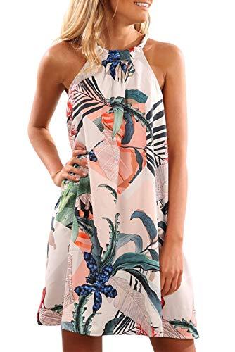 Alaster Queen Women's Casual Floral Print Sleeveless Beach Short Dress Halter Neck Mini Dress Blue Floral ()