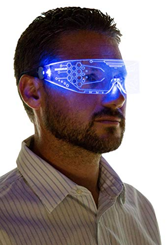 Neon Nightlife LED Light Up Glasses, Single Lens Tron Style, -