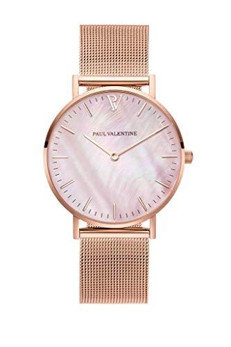 Paul Valentine - Reloj de Pulsera para Mujer (Malla Seashell, 32 mm), Color Rosa y Dorado: Amazon.es: Relojes