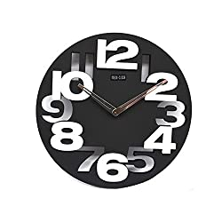xihaiying Unique Large Modern Black Wall Clock Non Ticking Battery Operated,Boys Girls Bedroom Living Room Kitchen Wall Decor