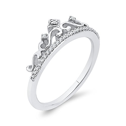 Diamond Crown Ring in 10K White Gold (1/10 cttw) (Color-GH, Clarity-I2/I3) (Size-11)