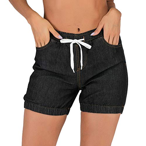 JOFOW Denim Shorts Womens Jeans Solid Slim Mini Bloomers Vintage Retro Casual High Waist Elastic Kardashian Bermuda Pants ()