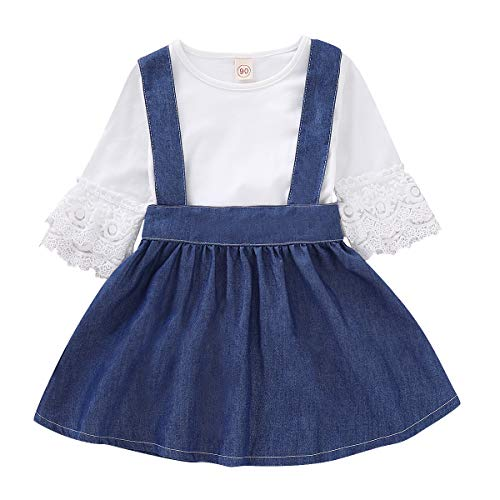 2Pcs Toddler Baby Girl Lace Sleeve T Shirt Strap Denim Skirt Overall Dress Outfit Set (Blue, 120/3-4 Years)