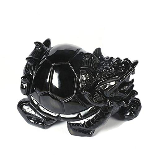 Lucky Crystal Horn - DingSheng Natural Black Obsidian Dragon Turtle Ornaments China Fengshui Quartz Crystal Tortoise Wealth Lucky Statue Crafts Home Decoration