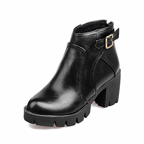 AgooLar Women's Kitten-Heels Solid Round Closed Toe Soft Material Zipper Boots Black MPfBMc