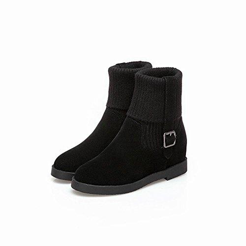 Mee Shoes Women's Charm Inside Heel Slip On Block Heel Short Boots Black N74VRVTbgZ