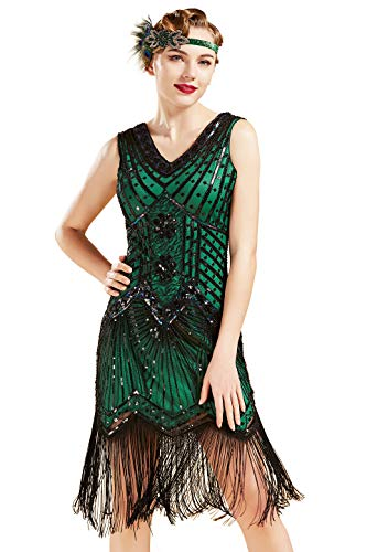 BABEYOND Women's Flapper Dresses 1920s V Neck Beaded Fringed Great Gatsby Dress (Green, XXL)