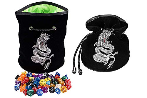 (Rogues & Knaves Large Dice Bag Embroidered with Platinum Dragon. Ideal for D&D, MTG, RPG. Great DND Gift. 6 Internal Pockets for Extra Dice Sets. Stays Open During Gameplay, Tight for Travel.)