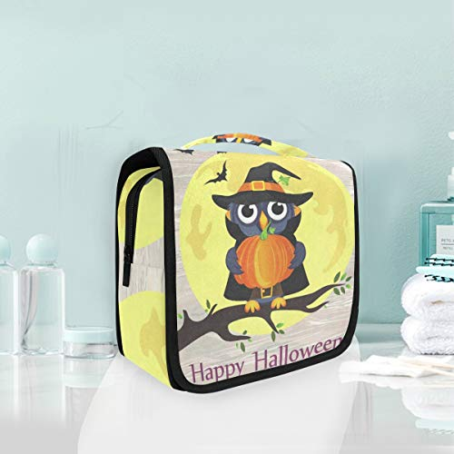 Toiletry Bag Halloween Owl In Witch Costume With Pumpkin Hanging Organizer Bag Wash Gargle Bag Cosmetic Bag Portable Makeup Pouch with Hanging Hook Travel]()