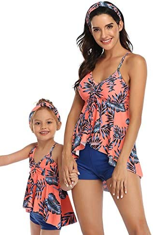BOFETA Girls 2 Piece Ruffle Boyshorts Swimsuit Cross Back Floral Printed Beach Sport Tankini Set 2-14 Years