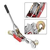 2/4T Wire Rope Ratchet Hand Power Puller Tighten Tool Mini Tightener Double Hook Lifting Tool Heavy Duty An-slip Gear Winch Power Puller with 2 Hook (2T)