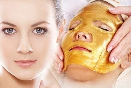 ALIVER 24k Gold Bio Collagen facial Máscara, Gold Powder Eye Mask y Lip Mask (5 sets / paquete) : Amazon.es: Belleza