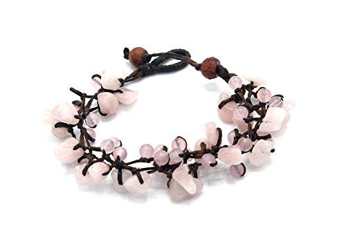 MGD, Pink Rose Quartz Round and Chip Bead Bracelet, 19 cm w/ 1 Inch Extend 3-Strand Bracelet, Wrap Bracelet, Women Fashion Jewelry, JB-0294B