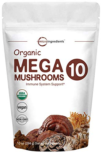 Organic Mega 10 Mushrooms Extract Powder, 10 Ounce, Lion's Mane, Chaga, Turkey Tail, Cordyceps, Shiitake, Maitake, Reishi, Wood Ear, Mesima, Oyster Mushroom, Non-GMO, Gluten-Free. ()