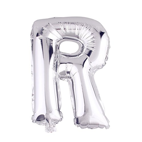 Glanzzeit 32 Inch Silver Foil Balloons Letters A to Z Numbers 0 to 9 Wedding Holiday Birthday Party Decoration (Letter R)