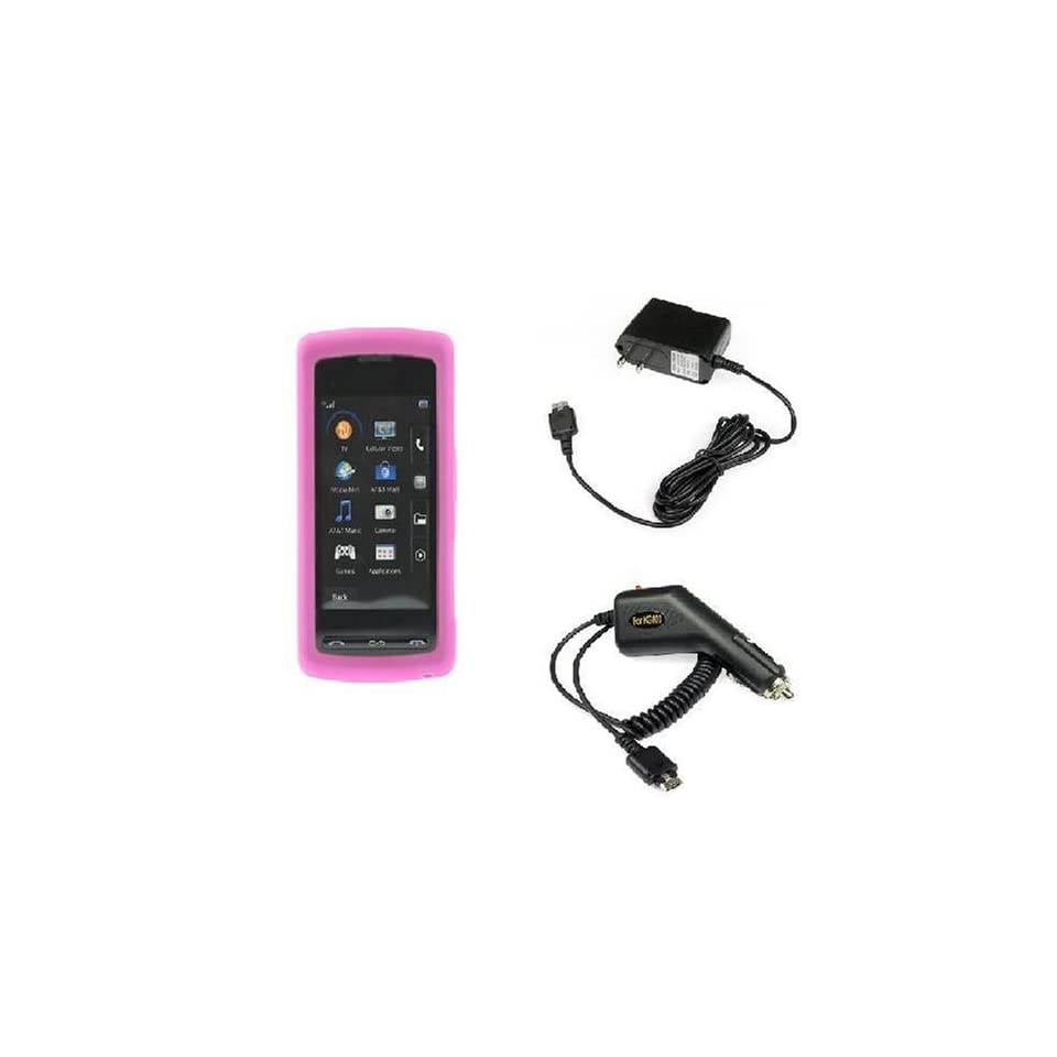 Durable Flexible Soft Hot Pink Silicone Skin Case + Rapid Car Charger + Home Travel Charger for LG VU CU920 CU915 Cell Phone