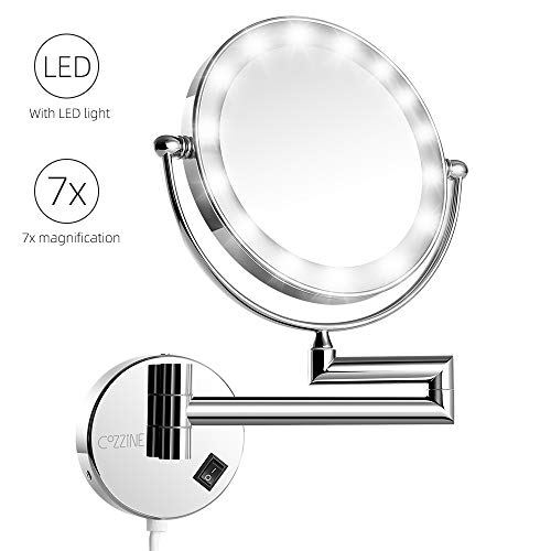 - Cozzine Magnifying Wall Mount Makeup Mirror Extendable Bathroom Magnifying Mirror (7X with Light)