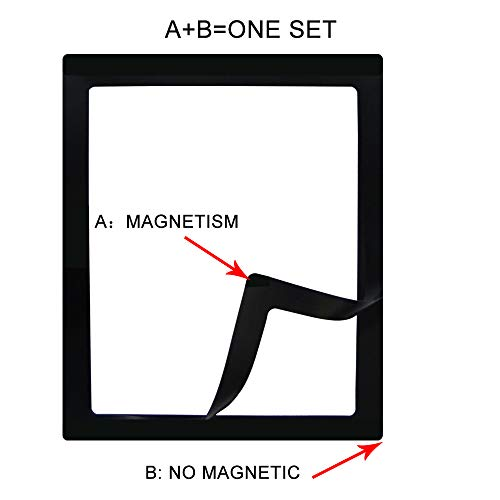 Office Cabinet and Wall Decoration Black sooard Magnetic Photo Frames 4 Sets Double Layer Magnetic Picture Frames 8x10,Photo Collage for Refrigerator Fridge