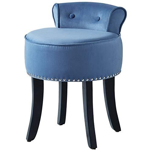(Posh Living Alena Blue Velvet Vanity Stool - Nailhead Trim - Button Tufted )