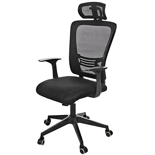 Computer/Office Swivel Chair, High Mesh Back Chair Ergonomic Mesh Padded Seat Adjustable Executive Computer Chair for Office/Conference/Home - Walnut Finish Dinette