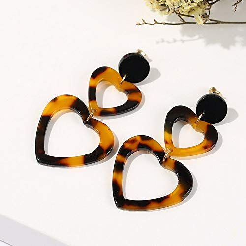 (Trendy Female Double Heart Tortoiseshell Pendant Earrings | Acrylic Leopard Print Ear Drop | for Women Office Lady)