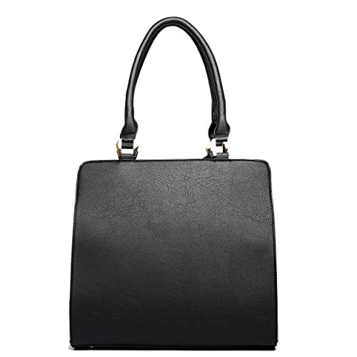 Miss Lulu Piel Sintética candado estructurado bolso bandolera lt1607 negro