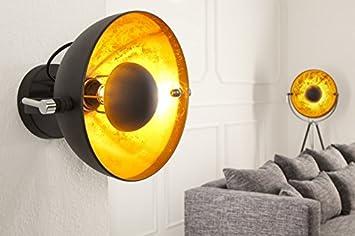 Wandleuchte Schwarz Gold ~ Dunord design wandlampe wandleuchte cinema schwarz gold amazon