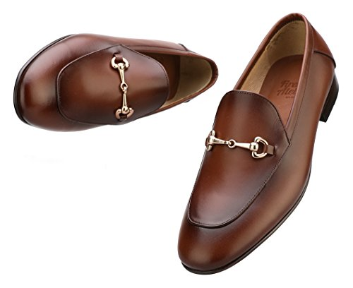 - Firenze Atelier Men's Handmade Full Grain Leather Bit Slip-on Loafers Penny Loafers (US 9.5, Wine Brown)