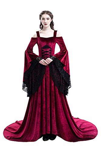 Womens Medieval Lace Off Shoulder Irish Plus Size Dress Renaissance Victorian Gothic Gown Trumpet Sleeve Costume Red ()